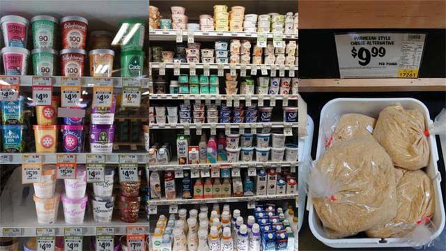 画像: 左からアイスクリーム、ヨーグルトやクリーマー、チーズ 。ココナッツミルクベースやアーモンドベースの商品が多い