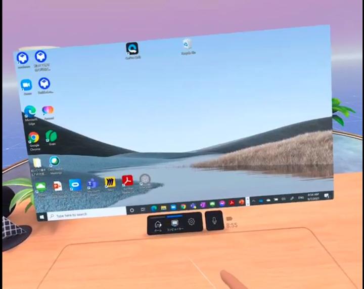 画像: ログイン後の個人のWorkrooms画面。Oculus Remote DesktopをinstallしたPCの画面をOculusのVR画面に表示することが可能。対応しているデバイス(キーボード)であれば、VR上でPCのデスクトップ上の操作も可能となる
