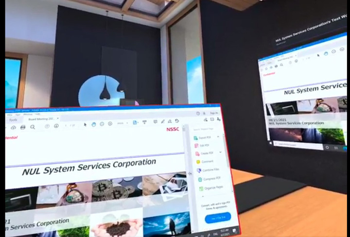 画像: コラボレーション用のWorkrooms画面(2/2)。前述したPC画面を自分で見ながら、参加者に共有することができる。これ以外にホワイトボード機能もあり、実際にアイデアなどを書きながら議論もできる
