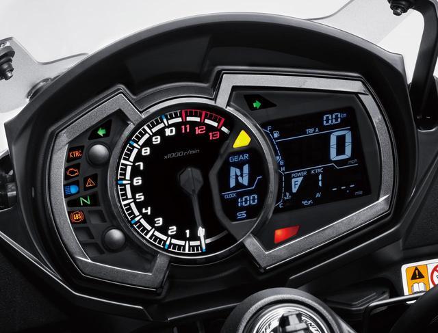 画像: Analog tach meter in the center with digital speedometer on the right and indication panels on the left. Gear position indicator and gear shift light are newly added. www.autoby.jp