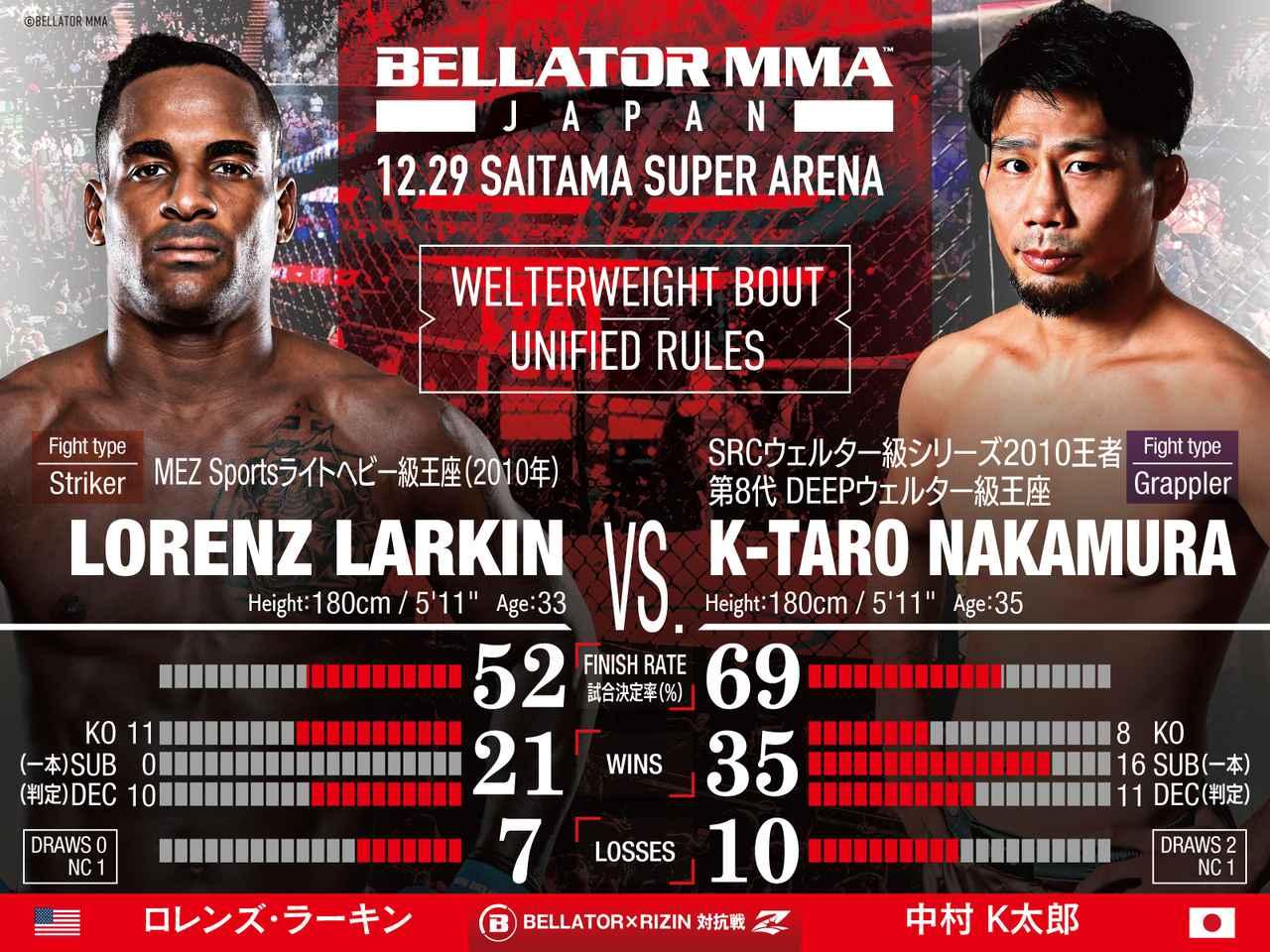 画像: 第3試合/RIZIN×BELLATOR対抗戦 ロレンズ・ラーキン vs. 中村K太郎