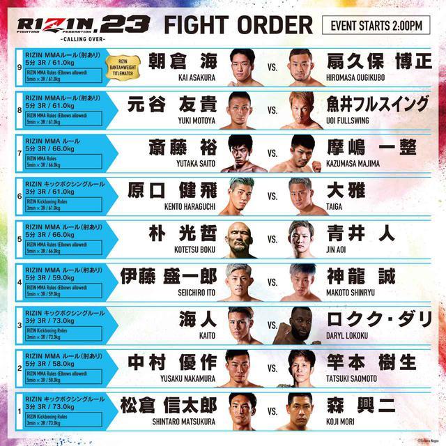 画像1: RIZIN.23 試合順発表!出演者がセミメインの元谷vs.魚井の見所を語る!