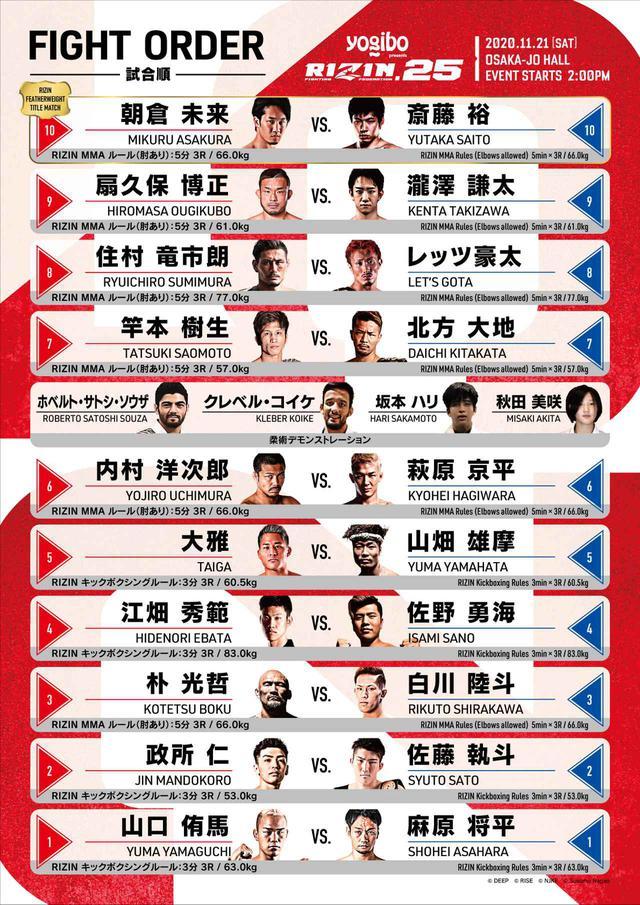 画像: Yogibo presents RIZIN.25 complete fight order