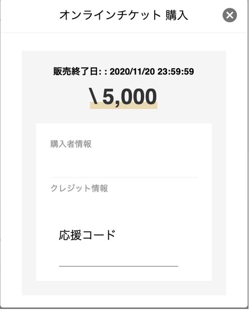 画像: クレジットカードの場合の応援コード入力画面