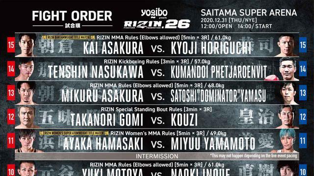 画像: RIZIN 26 full fight card and fight order - RIZIN FIGHTING FEDERATION オフィシャルサイト