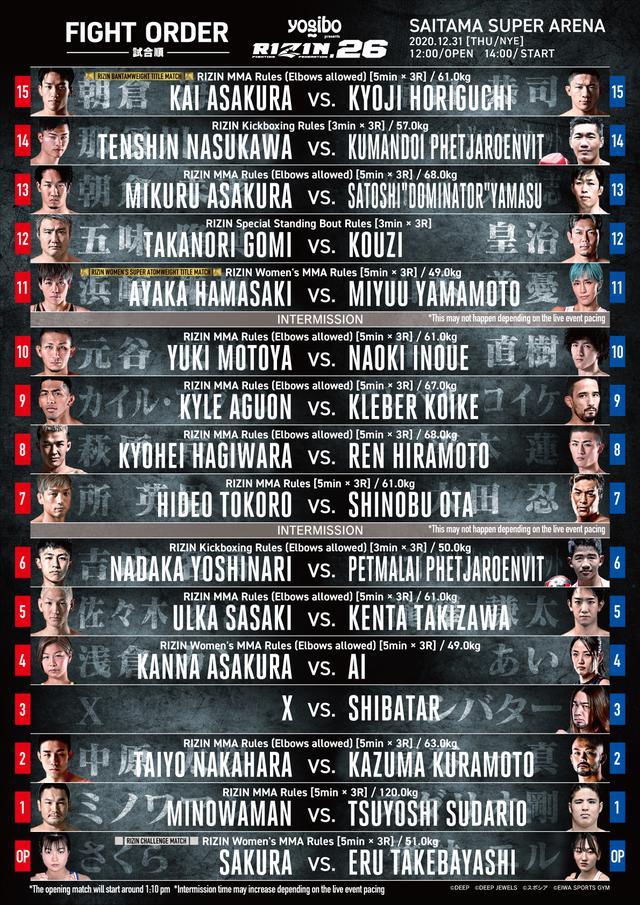 画像: RIZIN 26 full fight card and fight order