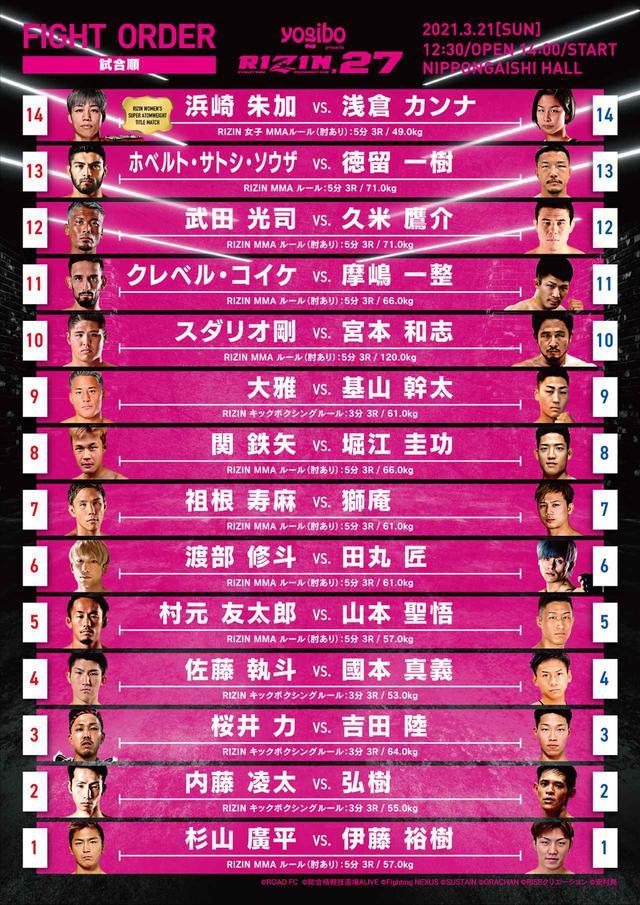 画像: Yogibo presents RIZIN.27 試合順
