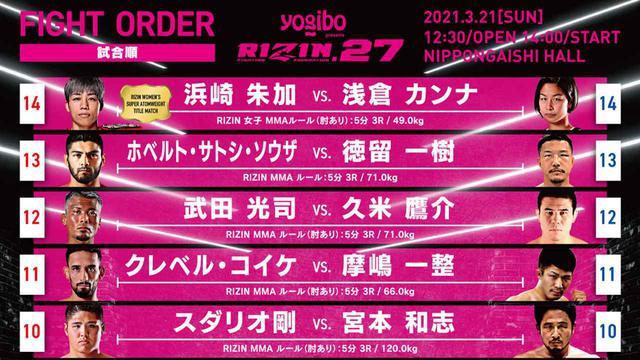 画像: メインは浜崎vs.浅倉、セミはサトシvs.徳留に決定!Yogibo presents RIZIN.27 試合順 - RIZIN FIGHTING FEDERATION オフィシャルサイト