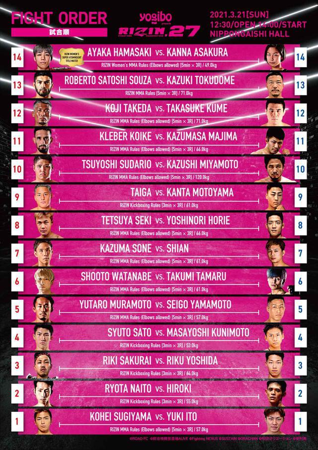 画像: Yogibo presents RIZIN.27 complete fight order
