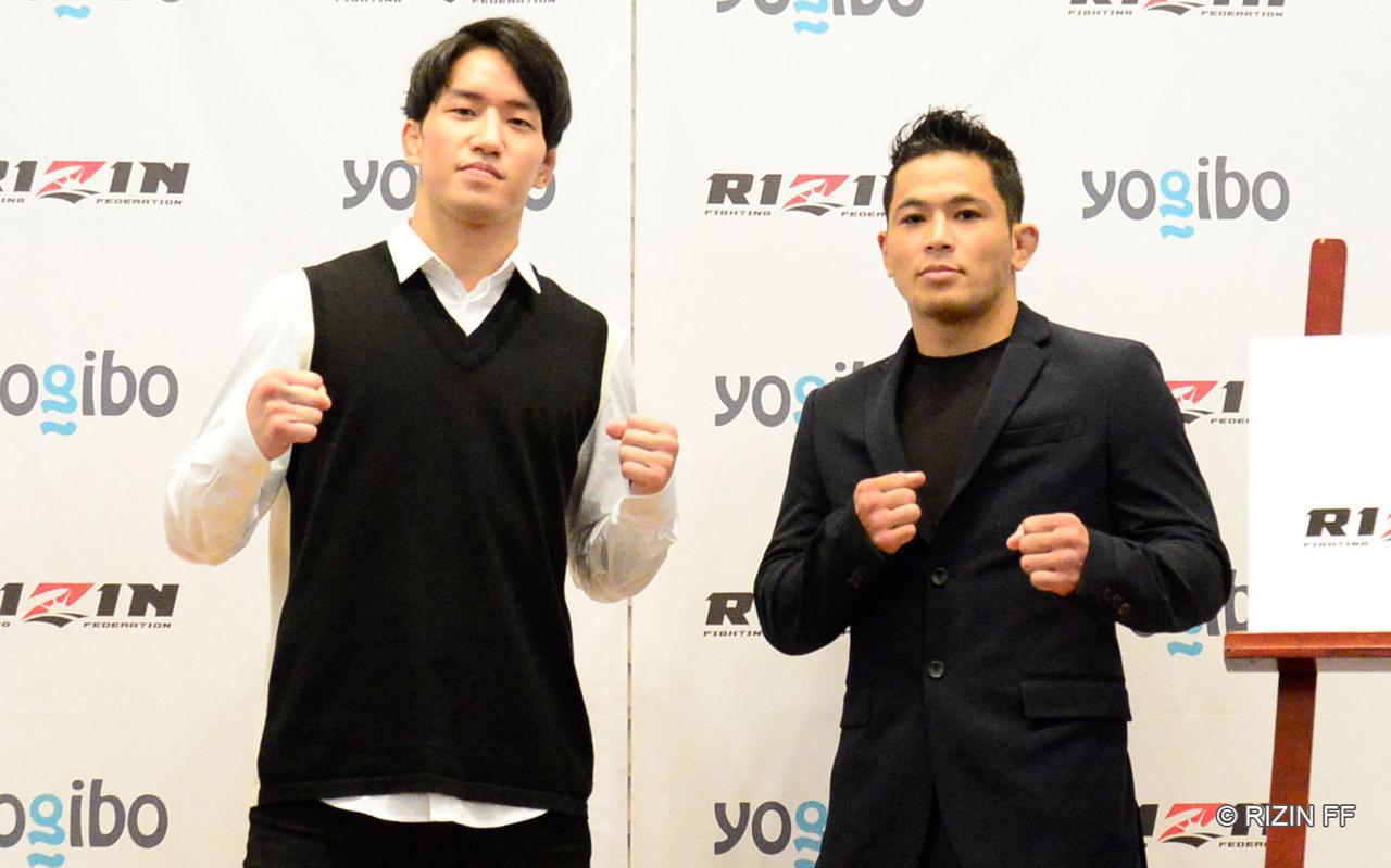 """画像: 朝倉海(左)、アラン""""ヒロ""""ヤマニハ(右)"""