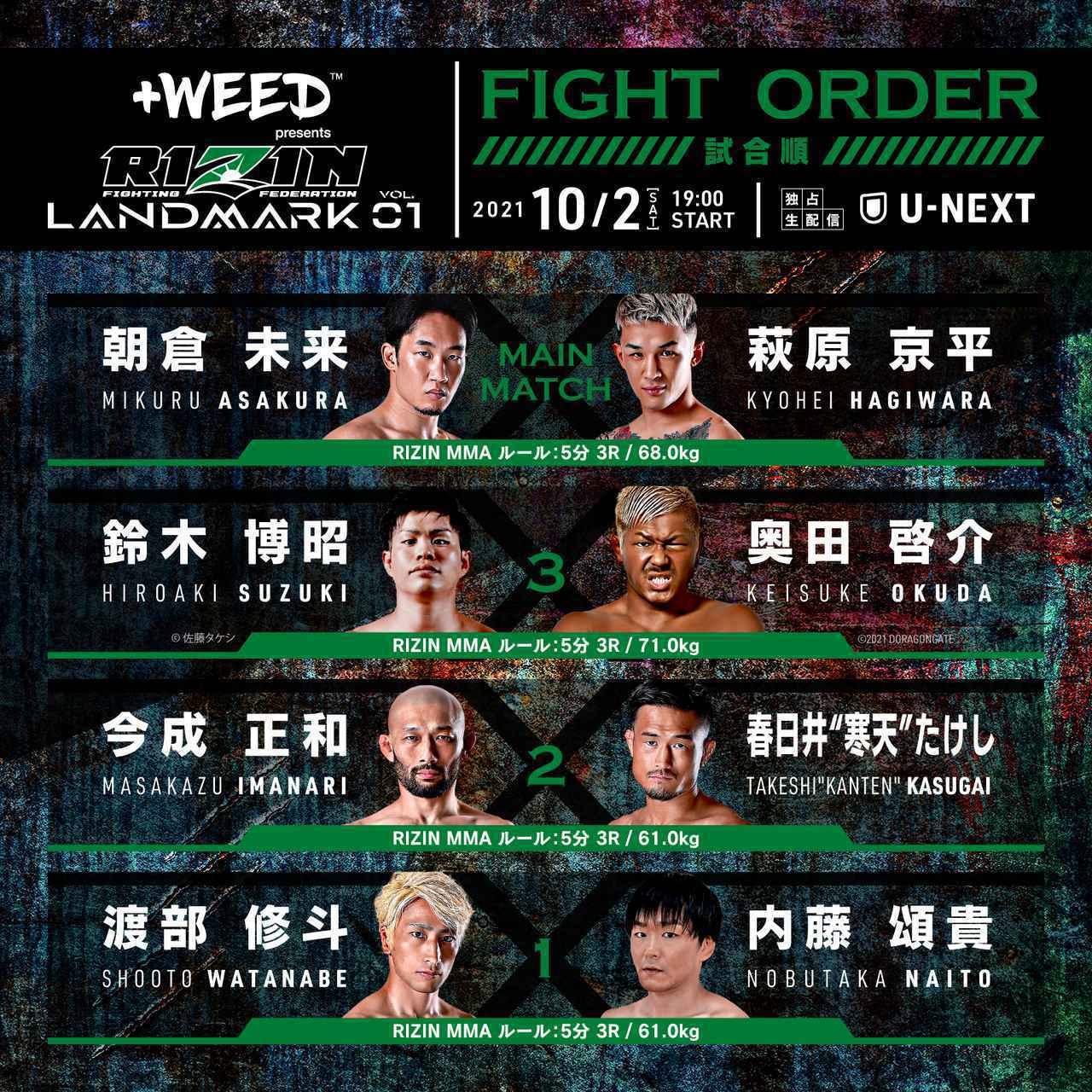 2021年10月2日RIZIN LANDMARK vol.1 -直播[全程视频] 朝倉未来 vs. 萩原京平