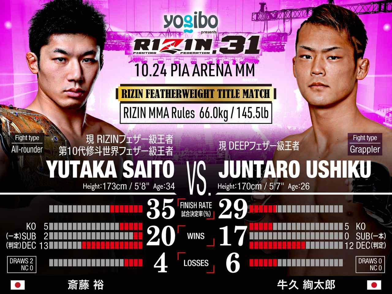 画像: 第11試合/フェザー級タイトルマッチ 斎藤裕 vs. 牛久絢太郎