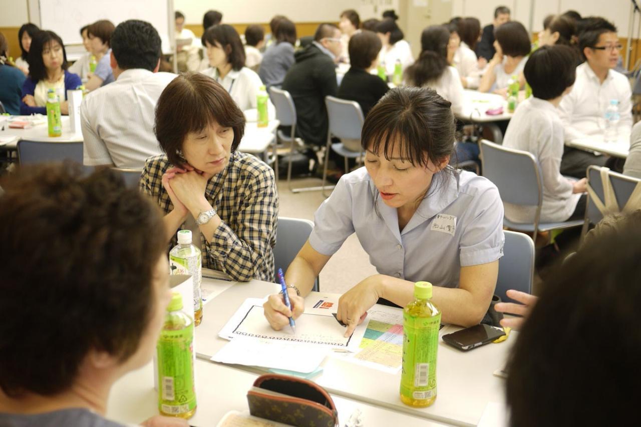 画像: 写真右は、グループディスカッションに参加する西山医師。