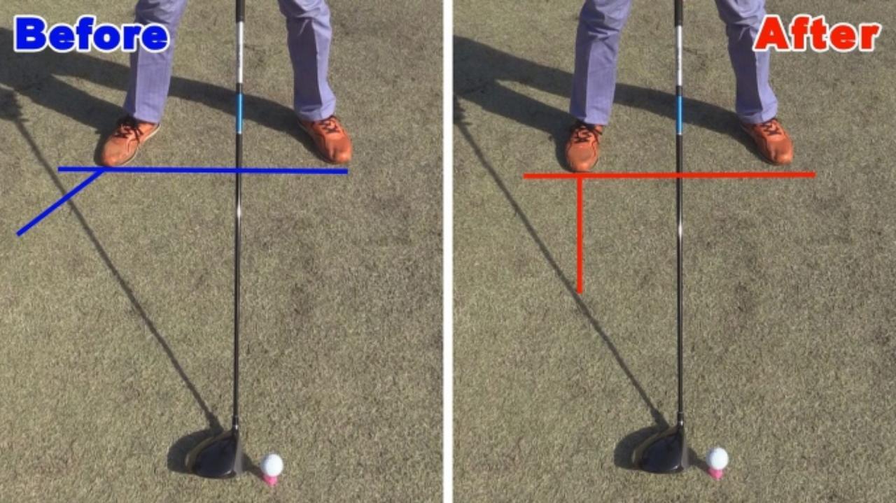 画像: POINT1 右足つま先は飛球線に直角
