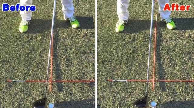 画像: POINT1 ボールの位置は左足かかと延長線上