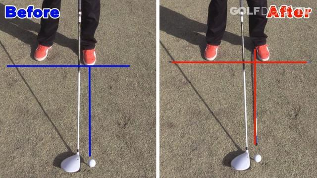 画像: POINT1 ボールの位置は右足かかと線上