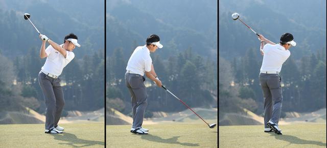 画像: アドレス時のシャフトの角度を変えないように体を使ってバックスウィング。インパクトではグリップエンドがへそを向く。トップで左腕とシャフトが肩のラインと平行ならフィニッシュも肩のラインと平行に収める。これが三上さんの理想のオンプレーン」