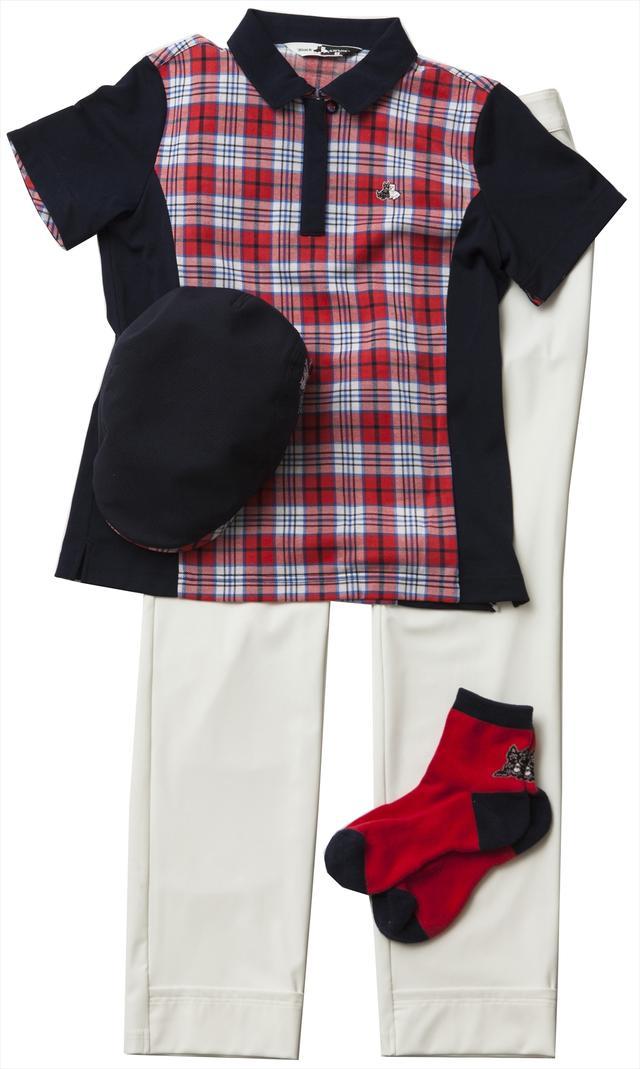 画像: レディスのトータルコーデ。ポロシャツの切り替え部分が紺色なので、スタイルもよく見える