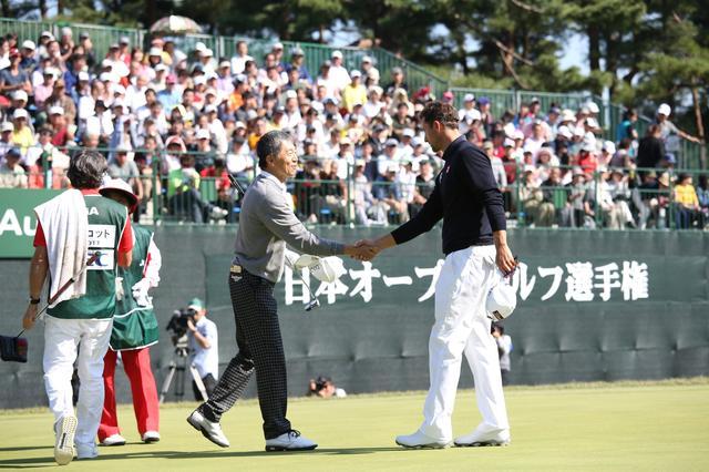 画像: 2014年の日本オープンではアダム・スコットとラウンド。「アダムが310ヤード、僕が280ヤード。100ヤード置いて行かれなくてよかった~」(田村)