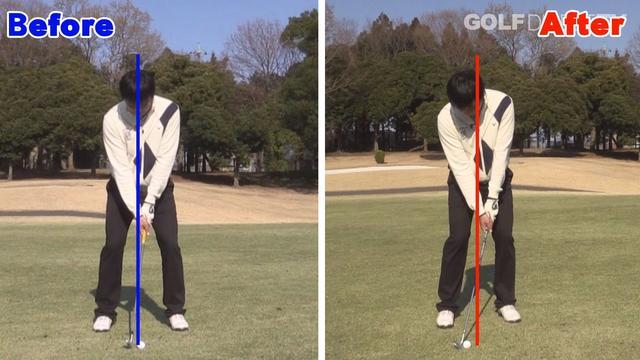 画像: POINT2 ボールの位置は少し右目に置く