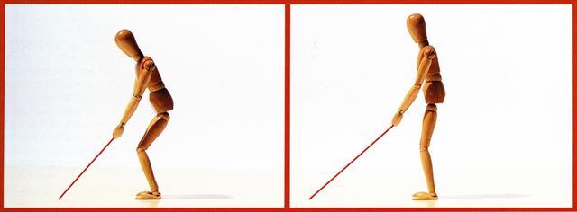 画像: 近いターゲットを狙うには自然に前かがみになる(図左) 1インチ長く作られているLXはスウィングしやすい姿勢を与えてくれる(図右)