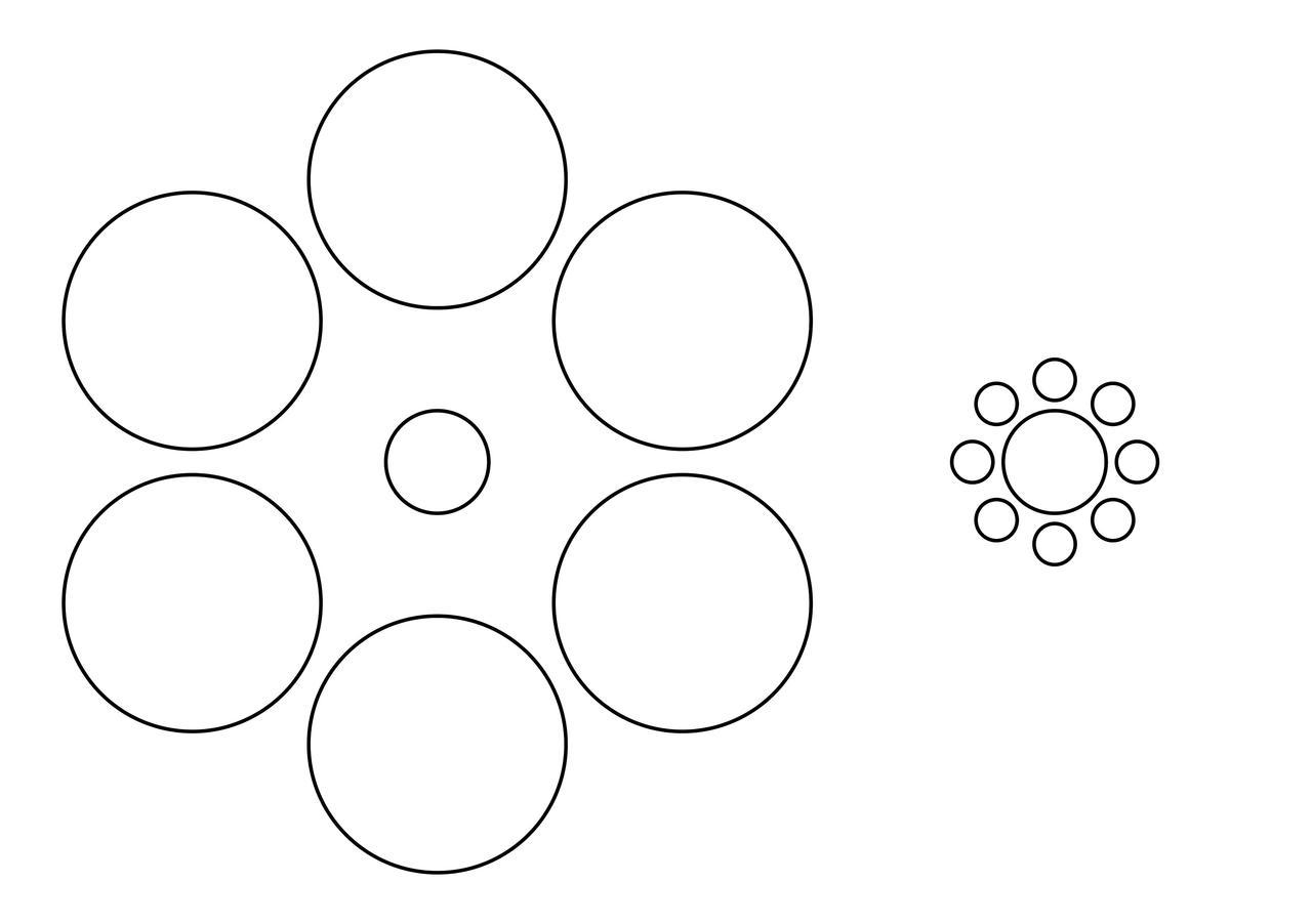 画像: 左右ともに中心に描かれた円の大きさは同じ。この「エビングハウス錯視」と同様の効果が期待できる