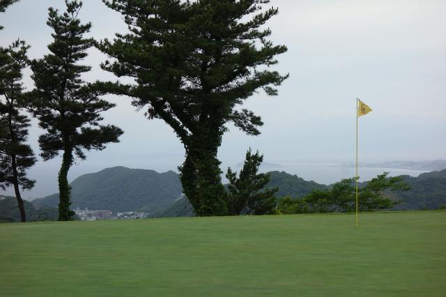 画像: 8番は88ヤードと距離は短いですが、風が強いことが多く、距離感に悩まされます。木の奥に見えるのは江ノ島です。