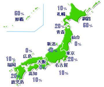 画像: 東京は降水確率20%。10回中2回雨が降るということになる weather.xgoo.jp