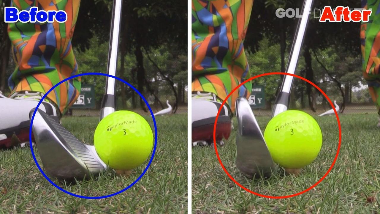 画像: POINT2 ボールの先を意識してダウンブローで打つ
