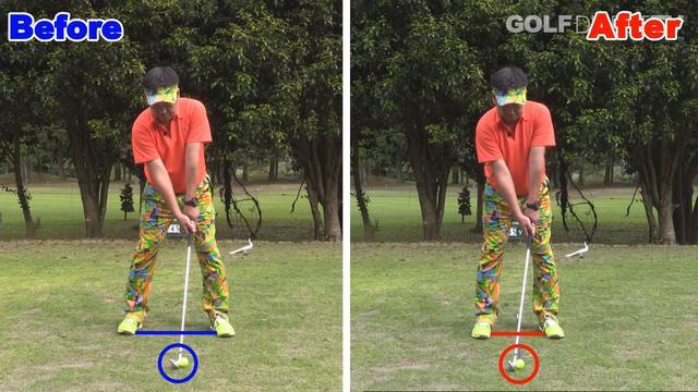 画像: POINT1 スタンス幅は肩幅、ボールの位置はセンター