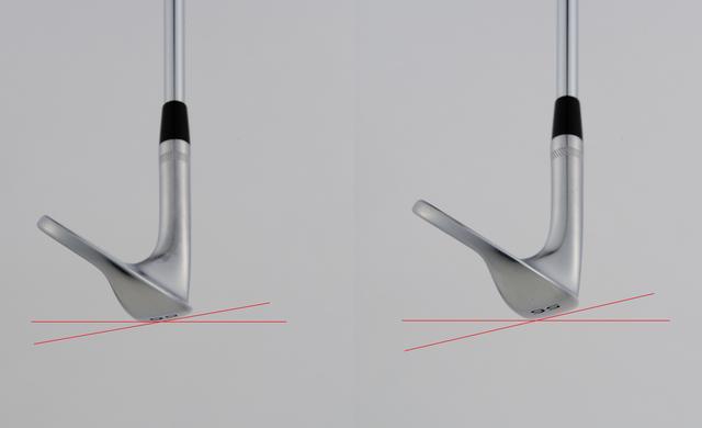 画像: バウンス角8度(左)に比べ、バウンス角14度(右)の方が水平線と交わる角度が大きい。14度の方が地面からの抵抗も大きくなり、砂や地面に潜りにくい性質を持つ