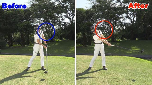 画像: POINT2 左肩が低い位置でインパクトをしよう