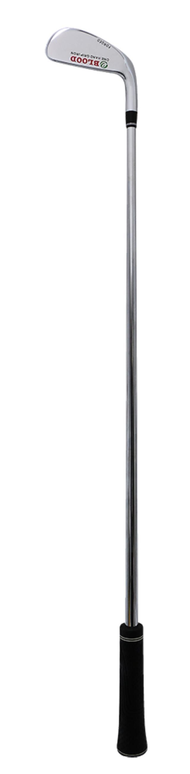 画像: 江連忠プロ考案のワンハンドグリップアイアン。グリップが太くて短いから手で操作しなくなる。クラブが短くて重いので体主体のスウィングが身に付く
