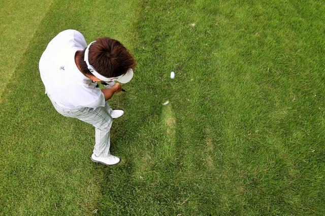 画像: 素振りで芝の抵抗を確認