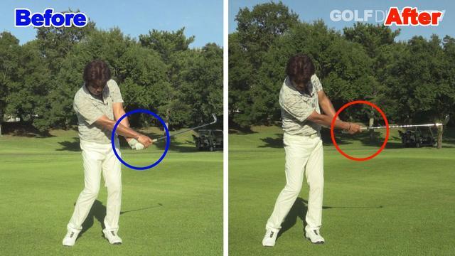 画像: POINT2 手首の角度を変えずに体と同調させて打とう