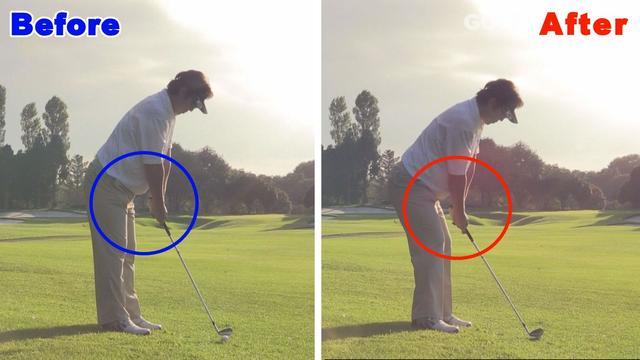 画像: 足下より低いボールの位置に対してひざを曲げてハンドダウンで構える。右の構えのほうがナイスショットが出そうですよね?