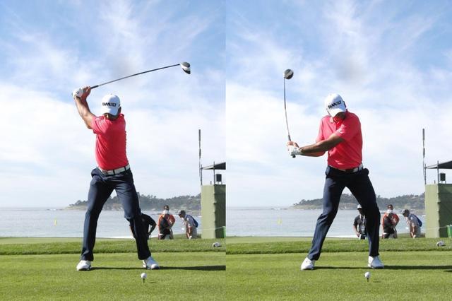 画像: 左ひざの角度に注目。デイは切り返し以降、左足に大きく体重移動しているのがわかる