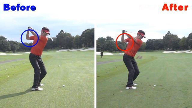 画像: 右わきの開きを直したことで(右)ミート率と方向性が格段にアップした
