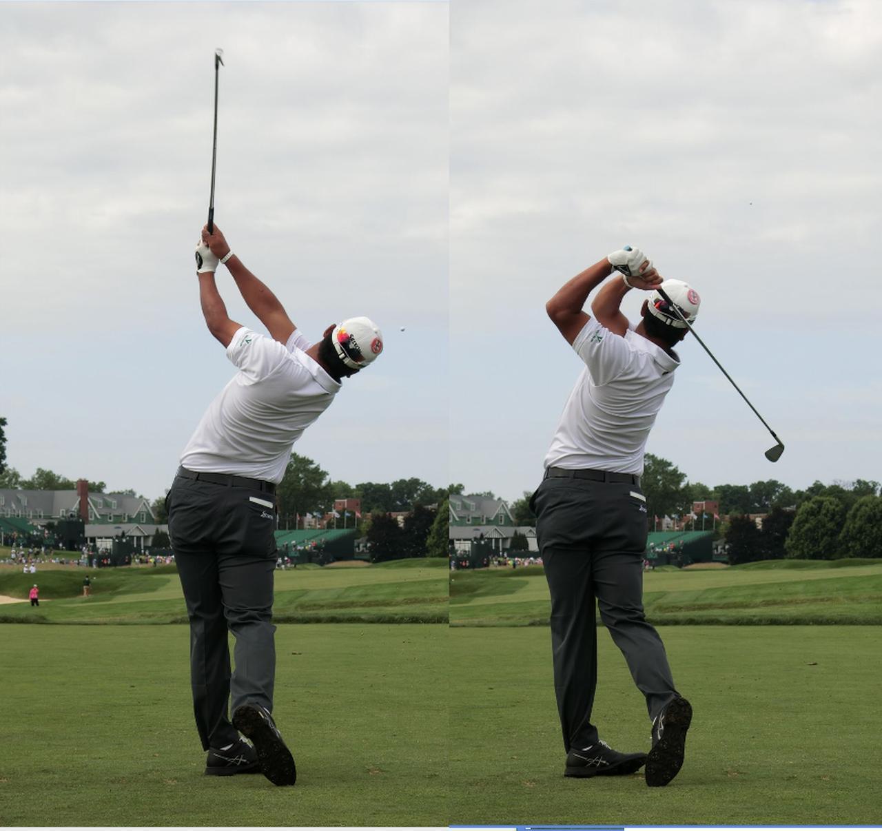 画像: 右手首の角度がキープされ続けた結果フィニッシュは高い位置に収まる(写真右)