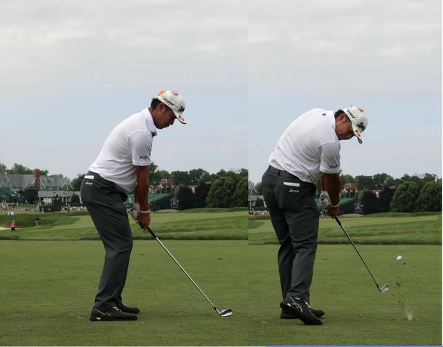 画像: ジャストインパクトの写真ではないが、右手首の角度がインパクト時とほぼ同じであることはわかるだろう