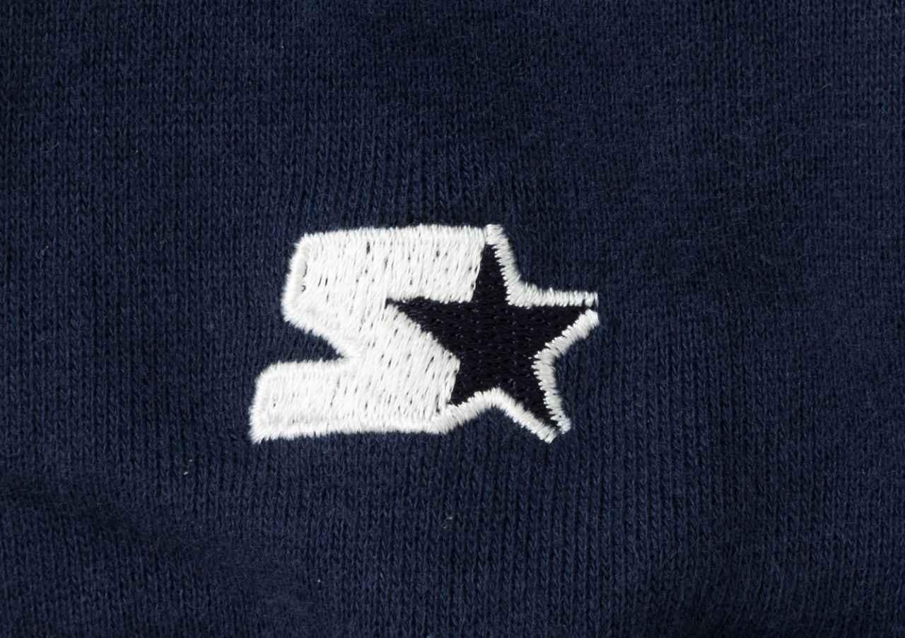 画像: 袖口にはスターターのロゴがデザインされている