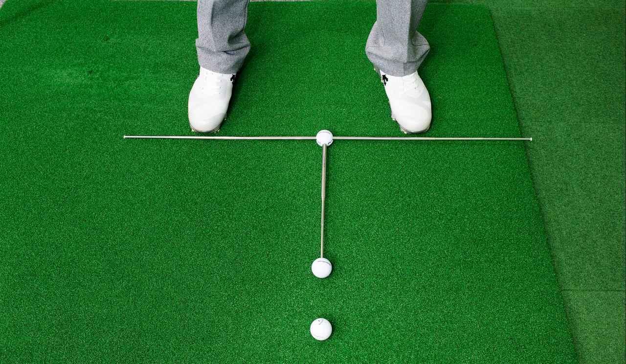画像: スタンスの向き、ボール位置がチェックできる