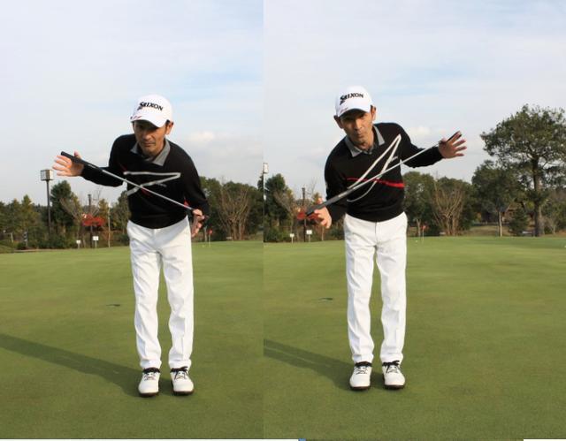 画像: 肩の上下運動でストロークするのがパットのストローク
