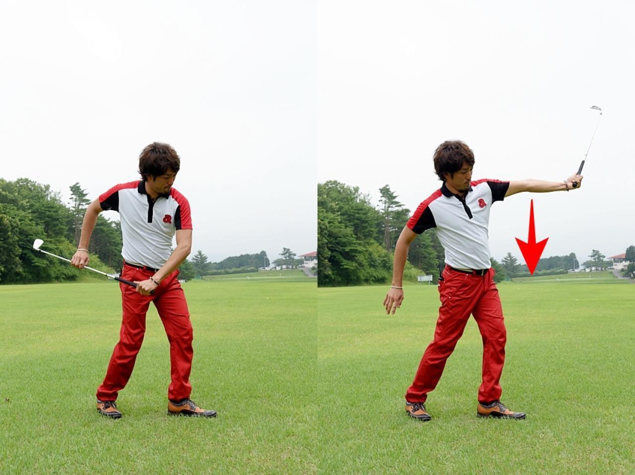 画像: クラブを振り出したときに、左ひじが真下を向くようにしよう