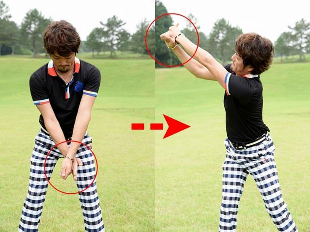 画像: 親指を立てた左手の甲に、右手甲をあてがう。そのまま、バックスウィング。左手親指は上を向いた状態をキープ。かなり窮屈に感じるはずだが、それで正解。それこそが締まったいいトップだ