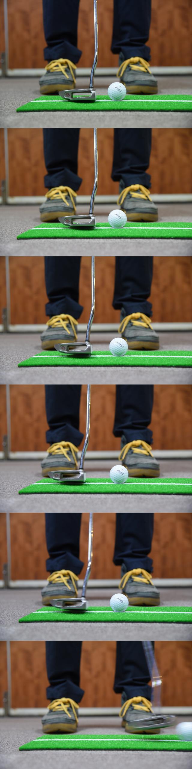 画像: テークバックはわずか1センチ! それでもしっかりと加速したインパクトを迎えられる