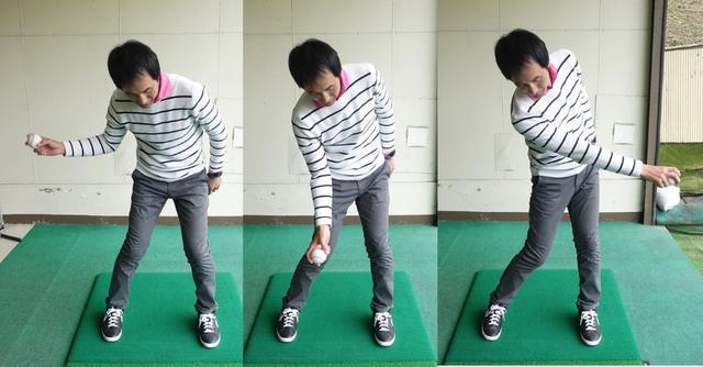 画像: 投球動作における右腕を内側にひねる動きをスウィングに取り入れる