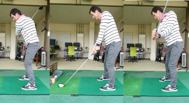 画像: フォローで右手が左手よりも上になる。それくらいしっかりと腕を内側にひねる必要がある