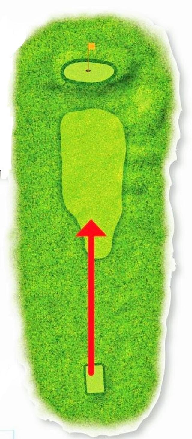 画像: ハザードがないため距離感をつかむのが難しく、砲台グリーンになっているため精度の高いショットが求められる