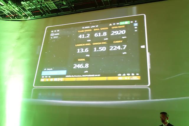 画像: 上田桃子が記者発表会場で打ったデータがこちら。「普段58〜59m/sのボール初速が『61.8』まで伸びました」